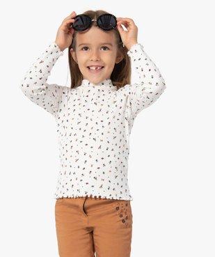 Tee-shirt fille en maille côtelée à motifs fleuris vue2 - GEMO C4G FILLE - GEMO