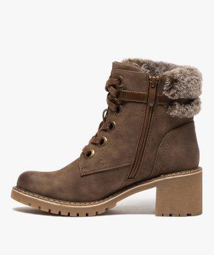 Boots femme à col duveteux, talon carré et semelle crantée vue3 - GEMO(URBAIN) - GEMO