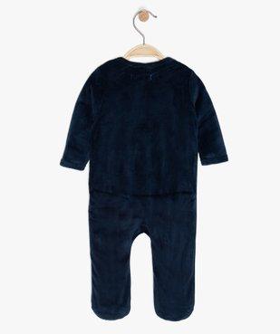 Pyjama bébé en velours avec ouverture devant vue2 - GEMO C4G BEBE - GEMO