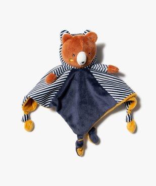 Doudou bébé garçon plat avec tête d'ourson vue1 - GEMO(BB COUCHE) - GEMO