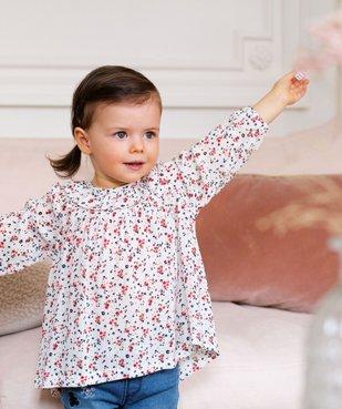 Blouse bébé fille à motifs fleuris et rayures pailletées – Lulu Castagnette vue1 - LULUCASTAGNETTE - GEMO