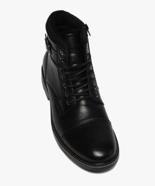 Boots homme unis doublure chaude fermeture lacets et zip vue5 - GEMO (CASUAL) - GEMO