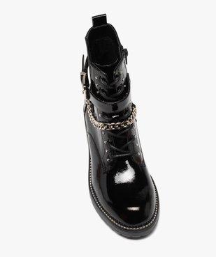 Boots femme vernis à détails métallisés style rock vue5 - GEMO (CASUAL) - GEMO