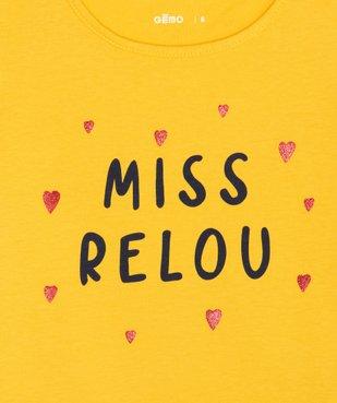 Tee-shirt fille avec motif pailleté sur l'avant vue2 - GEMO (ENFANT) - GEMO