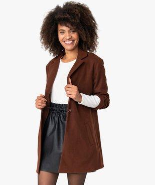 Manteau court femme en matière extensible et grand col vue1 - Nikesneakers(FEMME PAP) - Nikesneakers