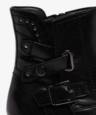 Boots femme à talon plat style motard unis fermeture zippée vue6 - GEMO (CASUAL) - GEMO