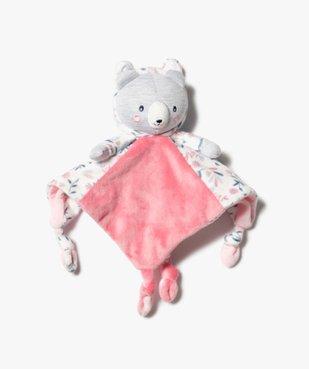 Doudou bébé fille plat avec tête d'ourson vue1 - GEMO(BB COUCHE) - GEMO