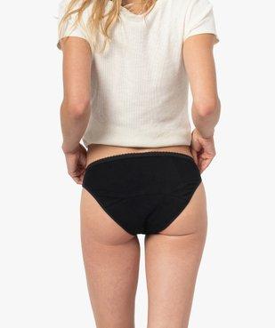 Culotte menstruelle en coton stretch et plumetis pour flux abondant - Dim Protect vue2 - DIM - GEMO
