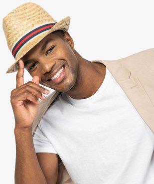 Chapeau homme en paille avec bande tricolore vue3 - GEMO (ACCESS) - GEMO