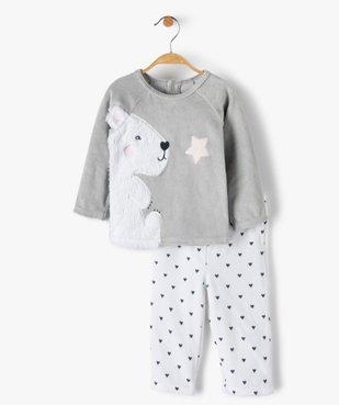 Pyjama bébé filles 2 pièces avec motif ourson vue1 - GEMO(BB COUCHE) - GEMO