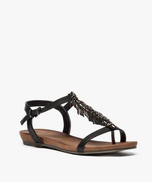 Sandales femme avec feuille en strass et petit talon compensé vue2 - GEMO (CASUAL) - GEMO
