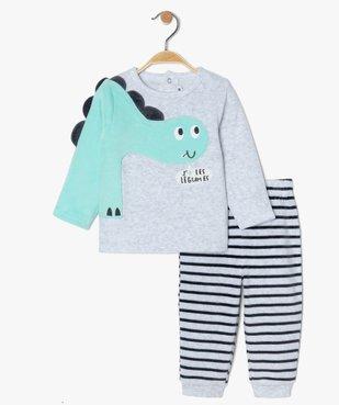 Pyjama bébé garçon en velours à manches fantaisie vue2 - GEMO(BB COUCHE) - GEMO