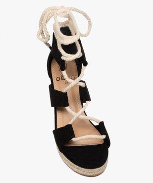 Sandales femme à talon compensé laçage cordelette vue5 - GEMO(URBAIN) - GEMO
