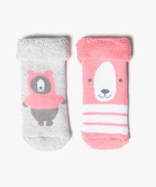 Chaussettes bébé en maille bouclette motif ours (lot de 2)  vue1 - Nikesneakers C4G BEBE - Nikesneakers