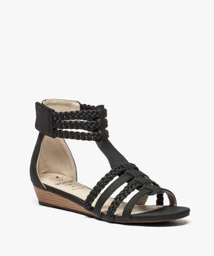 Sandales femme avec brides tressées autour de la cheville vue2 - GEMO (CASUAL) - GEMO