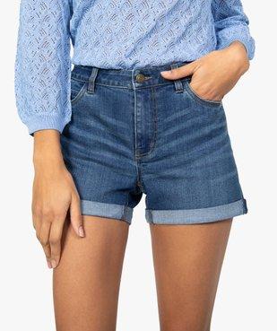 Short femme en jean avec revers cousus vue2 - GEMO(FEMME PAP) - GEMO