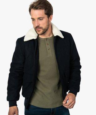 Blouson homme  laine avec col   amovible vue1 - GEMO (HOMME) - GEMO