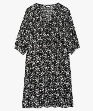 Robe femme imprimée à smocks et manches 3/4 vue4 - GEMO (G TAILLE) - GEMO