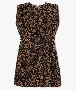 Robe femme courte à épaulettes avec motifs zébrés  vue1 - GEMO (G TAILLE) - GEMO