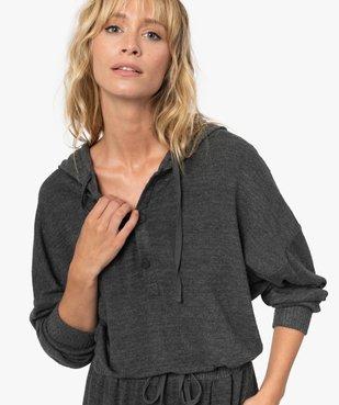 Combinaison femme à capuche en maille douce vue2 - GEMO(HOMWR FEM) - GEMO