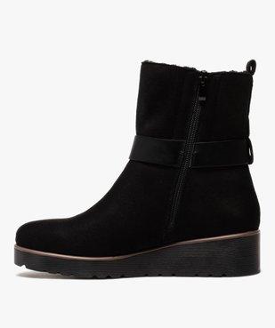 Boots femme à semelle plateforme en suédine unie vue3 - GEMO(URBAIN) - GEMO