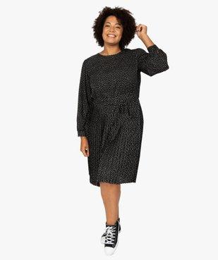 Robe femme courte plissée à manches longues vue1 - GEMO (G TAILLE) - GEMO