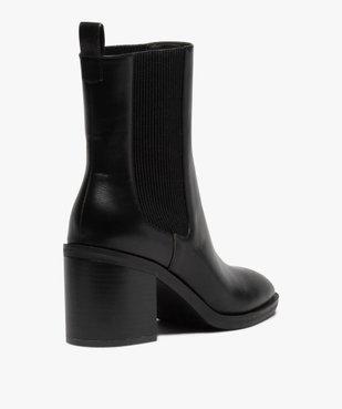 Boots femme à talon carré dessus uni style chelsea vue4 - GEMO(URBAIN) - GEMO