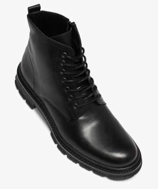 Boots homme dessus cuir uni et semelle crantée vue5 - GEMO(URBAIN) - GEMO