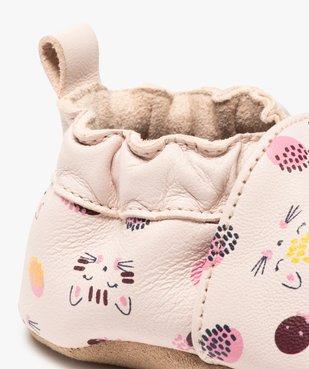 Chaussons bébé fille en cuir imprimé à col élastiqué vue6 - GEMO (ENFANT) - GEMO