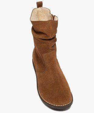 Boots fourrées femme à talon plat dessus cuir retourné uni vue5 - GEMO (CASUAL) - GEMO