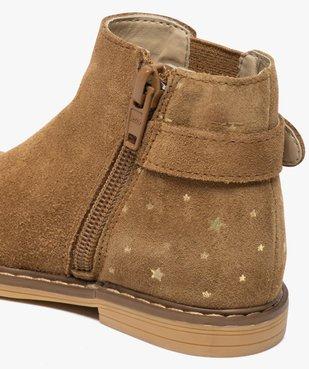 Boots bébé fille zippées style chelsea dessus cuir retourné vue6 - GEMO(BEBE DEBT) - GEMO