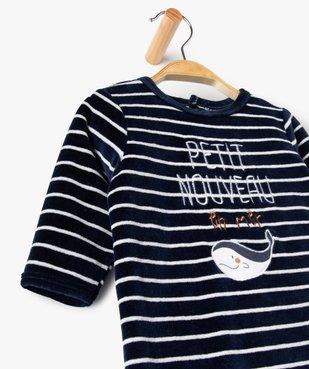 Pyjama bébé rayé en velours  avec inscription brodée vue2 - GEMO(BB COUCHE) - GEMO