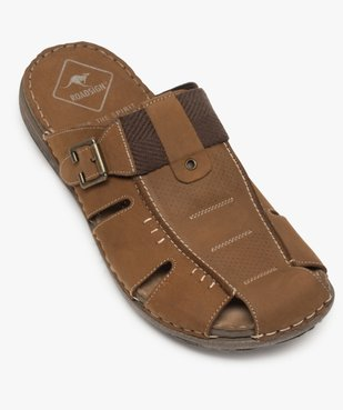 Sandales homme mules à semelle intérieure cuir - Roadsign vue5 - ROADSIGN - GEMO