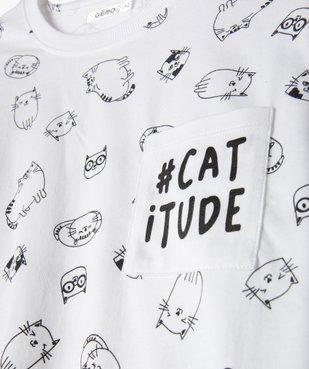 Pyjama fille avec motifs dessins de chats vue2 - GEMO (JUNIOR) - GEMO