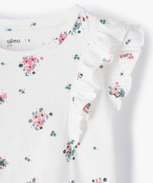 Tee-shirt fille à motifs fleuris et volants sur les épaules vue2 - GEMO C4G FILLE - GEMO