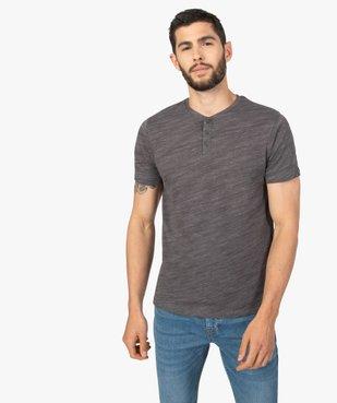 Tee-shirt homme chiné à manches courtes et col tunisien  Matière chinée vue1 - GEMO C4G HOMME - GEMO