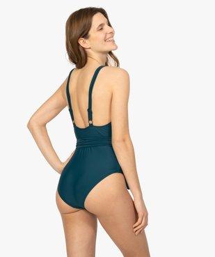 Maillot de bain femme une pièce avec ceinture à nouer vue3 - GEMO (PLAGE) - GEMO
