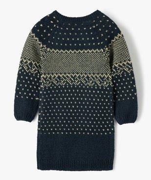 Robe pull fille en maille jacquard dorée vue3 - Nikesneakers (ENFANT) - Nikesneakers