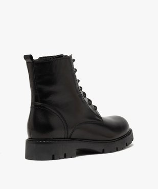 Boots fille en cuir uni style godillots à semelle crantée vue4 - GEMO (ENFANT) - GEMO