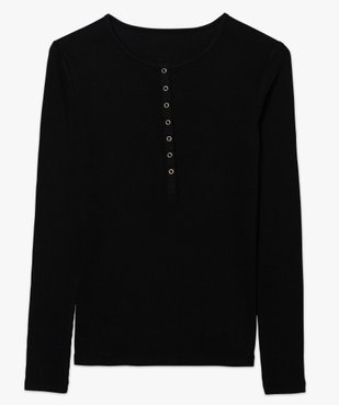 Tee-shirt femme à manches longues en maille côtelée vue4 - GEMO(FEMME PAP) - GEMO