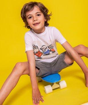 Tee-shirt garçon imprimé à manches courtes - Les Minions 100% coton biologique vue4 - NBCUNIVERSAL - GEMO