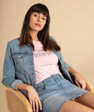 Tee-shirt femme à message fantaisie - GEMO x Les Vilaines filles vue6 - GEMO(FEMME PAP) - GEMO