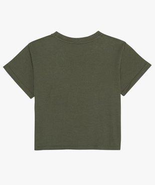 Tee-shirt fille court avec message scintillant vue3 - GEMO (JUNIOR) - GEMO
