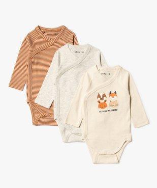 Body bébé à manches longues et fermeture croisée (lot de 3) vue1 - GEMO C4G BEBE - GEMO