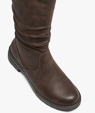 Bottes femme à talon plat et col en maille chinée vue5 - Nikesneakers (CASUAL) - Nikesneakers