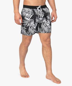 Short de bain homme motif feuillage en contraste vue2 - GEMO (PLAGE) - GEMO