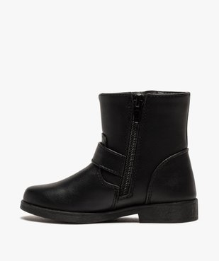 Boots fille unis avec boucles décoratives fermeture zippée vue3 - GEMO (ENFANT) - GEMO