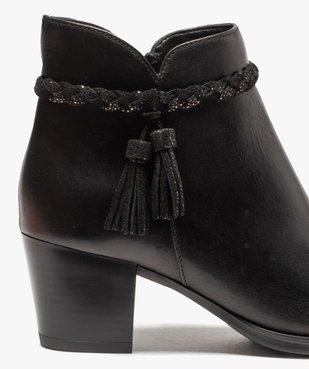 Boots femme unies à talon dessus cuir et bride fantaisie vue6 - GEMO(URBAIN) - GEMO