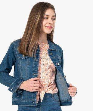 Veste en jean fille stretch vue1 - GEMO (JUNIOR) - GEMO