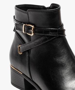 Boots femme unis à talon carré et finitions métallisées vue6 - GEMO (CASUAL) - GEMO